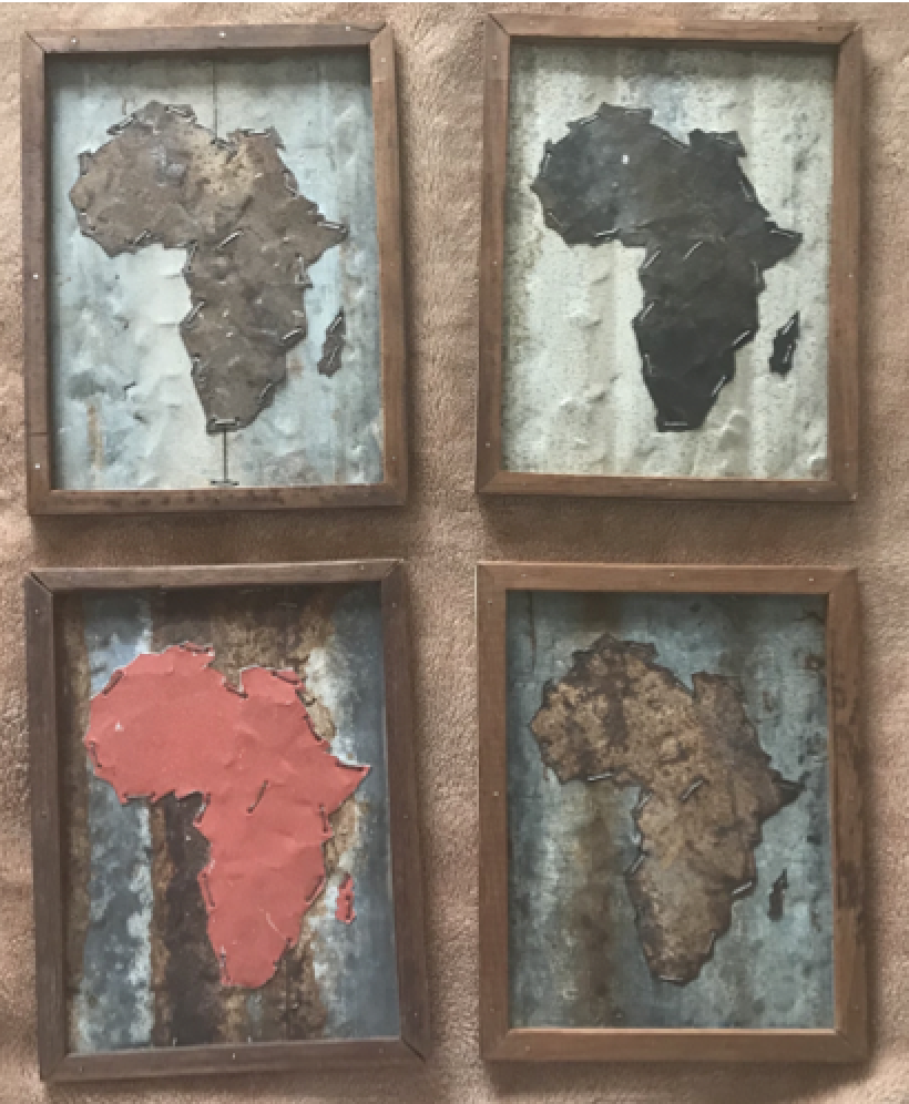 T1 Tin Art Recycle Art (Small): Each one is A4 size each Recycle tin art in a wooden frame. $20 (2,000Ksh) per piece