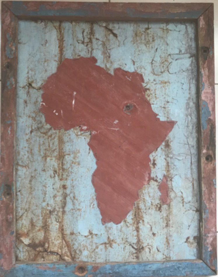 T2 Tin Art Recycle Art (Large 56cm x 72 cm) : Recycle tin art in a wooden frame $120 (12,000Ksh)