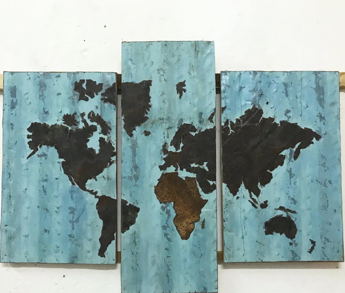 T4 Blue Triple Tin Recycle art map of the world in a wooden frame(Large 65cm x 100cm) :  $200 (20,000Ksh)
