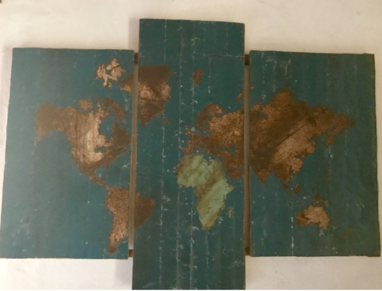 T3 Triple Tin Recycle art map of the world in a wooden frame(Large 65cm x 100cm) :  $200 (20,000Ksh)